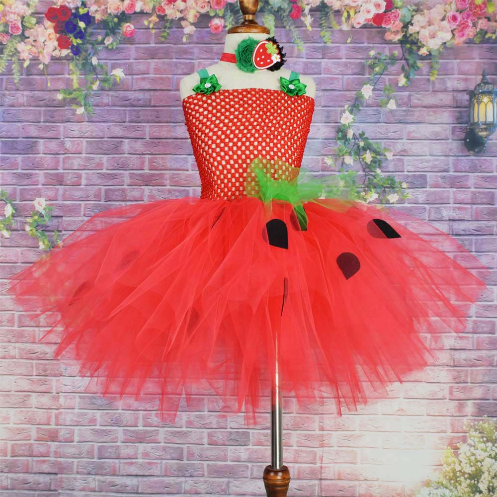 Girls Red Strawberry Flowers Tutu Dress Baby Girls Birthday Party Dress Kids Halloween Costume цены онлайн