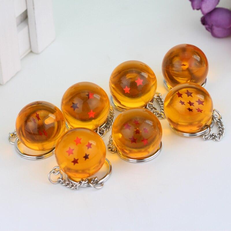 Hot Anime Dragon Ball Z Keychains Orange Pvc 1-7stars Goku Dragonball Key Chains Plastic Pendant Llavero Chaveiro Gift For Fans(China)