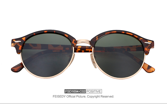 5c49a7c5491 מוצר - FEISEDY Fashion Retro Men Sunglasses Women Brand Designer ...