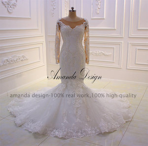 Image 5 - Amanda Design robe mariee O neck Long Sleeve Lace Appliqued Pearls Wedding Dress Customized
