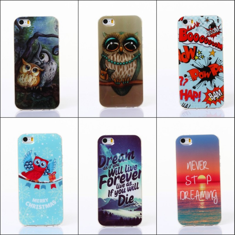For iPhone 5 5s Lovely OWL Cute Soft Silicone IMD TPU Back Case Gel Cover Fundas Capa Para Coque Cases for iPhone 5 5S