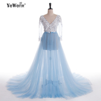 Lace Formal Pregnant Photo Dress Long Sleeve See Through Blue Evening Dresses Custom Size Plus Size