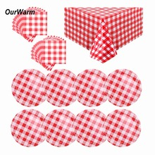 OurWarm Disposable Tableware Red Paper Napkins Plates Farm Long Table Cloth Dish Cover Christmas BBQ Birthday Party Decoration