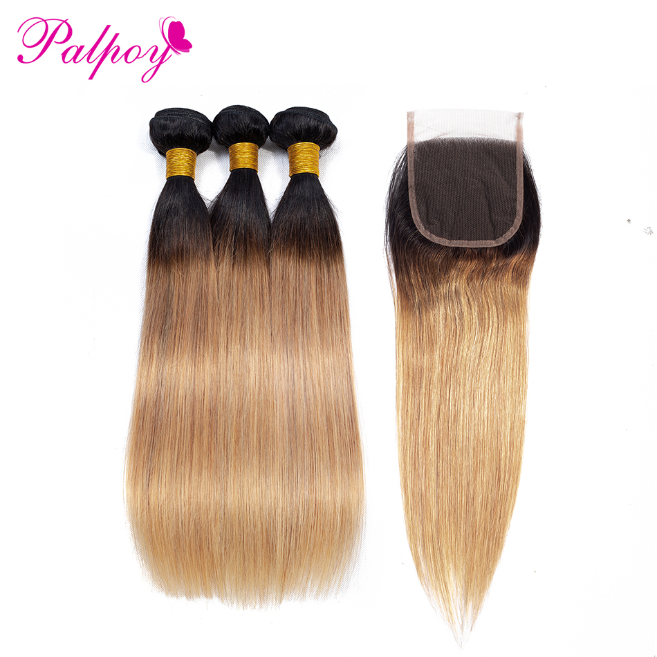 PALPOY Pre Colored Bundles Brazilian Straight Hair With Closure T1B 27 Ombre Human Hair Bundles With