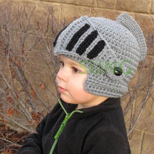 Novelty Family Hats Roman Knight Helmet Caps Handmade Knit Warm ...