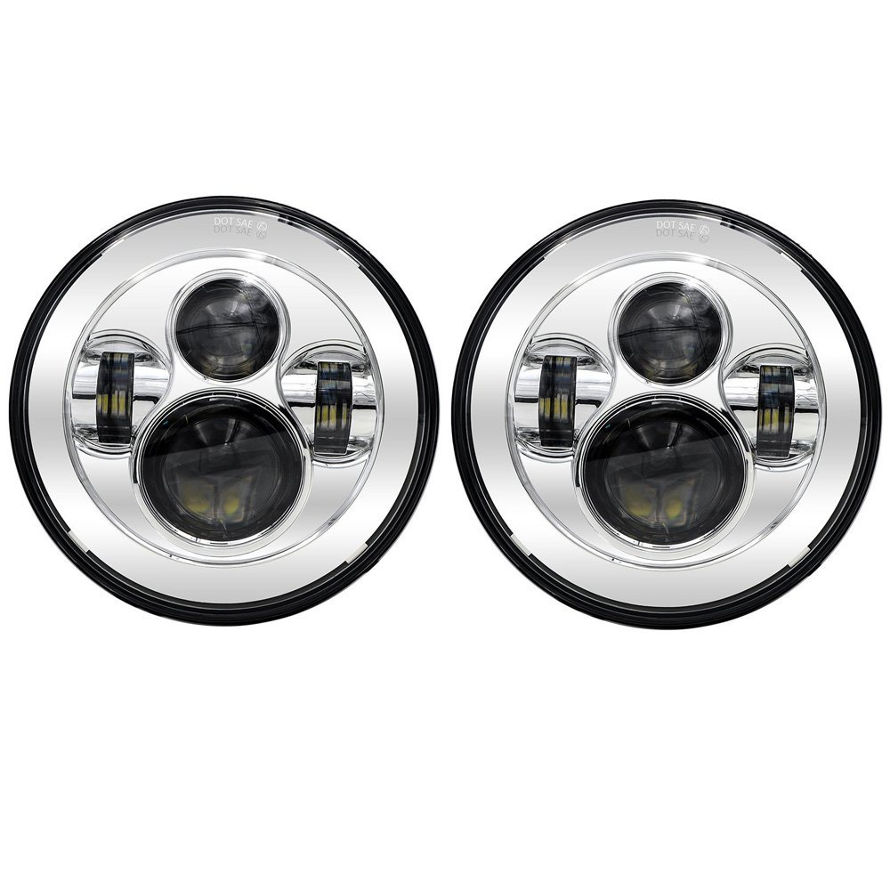 Pair 7inch LED Hi/Lo Chrome Offroad Headlights for 97-17 Jeep Wrangler TJ JK & Wrangler Unlimited