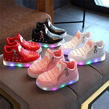 NEW FASHION2018 Baby Shoes Children Kids Girls Zip Crystal LED Light Up Luminous Sneakers Shoes(China)
