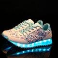 7-color LED mulheres Sapatos 2017 de Alta Qualidade Mulheres Sapatos Casuais para Adultos Carregamento USB Luzes LED Luminoso Sapatos Zapatos Mujer