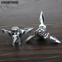 Motorcycle Chrome Skull Spun Blade Axle Caps Cover Front Axle Nut Covers For Harley Sportster Dyna Softail V Rod Custom