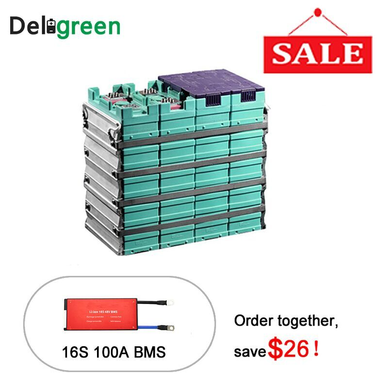 GBS 16 Cells 100ah Rechargeable Prismatic Li iron Battery Pack With 16S 100A bms to extend the cell life