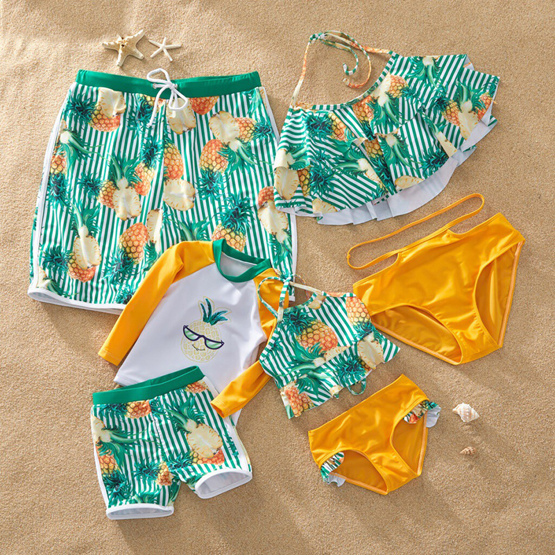 family-matching-fashion-mother-daughter-swimsuit-mama-and-me-bikini-clothing-family-look-father-daughter-son