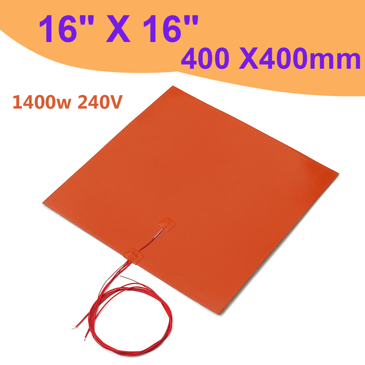 1400 w 240 V 400x400mm Chauffe Silicone Chauffe-Lit Pad pour 3D Imprimante Sans Trou Chauffage Pad Orange 3D Imprimante accessoires