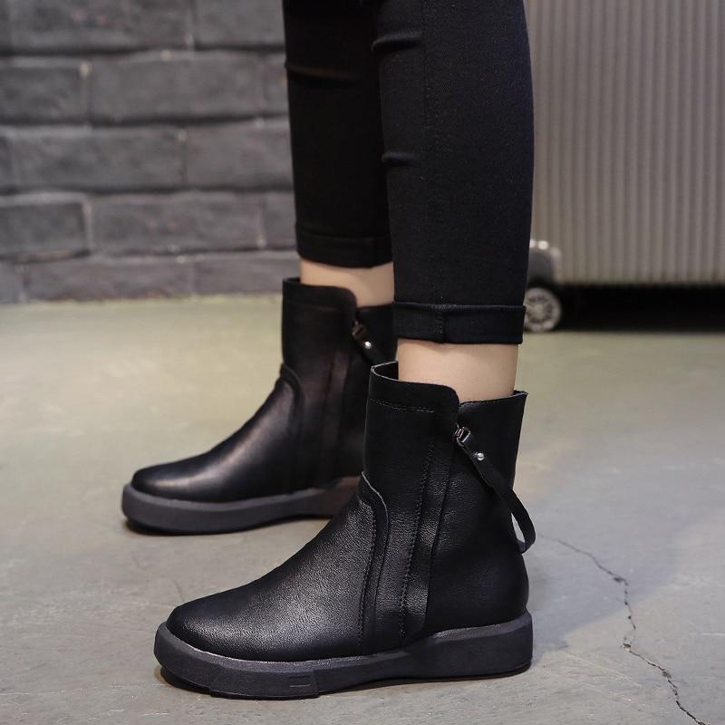 Estilo Vintage Piel Negro Botas M501 Vaca Botines Zapatos Con marrón Planas Mujer 2018 Cremallera De Suave BUwRFxwqg