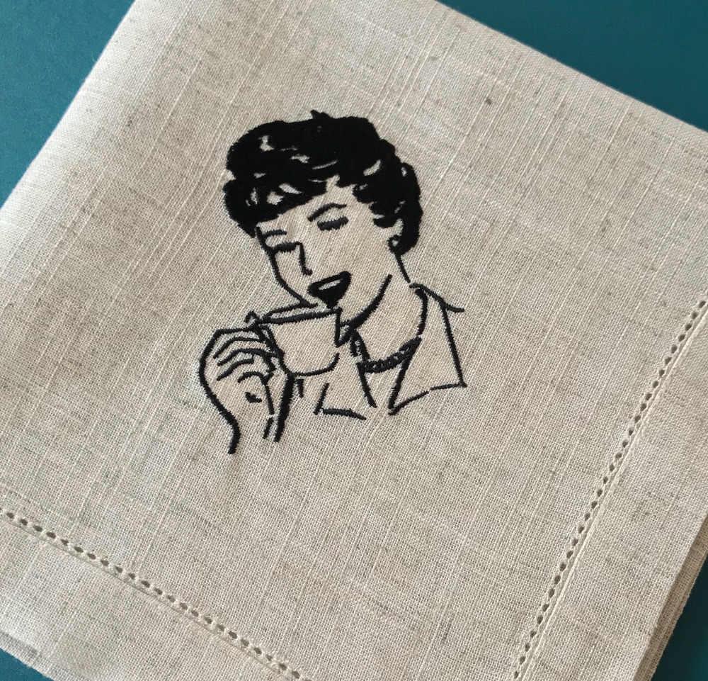 แม่บ้านกาแฟเย็บปักถักร้อยผ้ากันเปื้อน,ผ้าฝ้ายผ้าลินินธรรมชาติผ้าผ้ากันเปื้อนสูงชาตกแต่ง