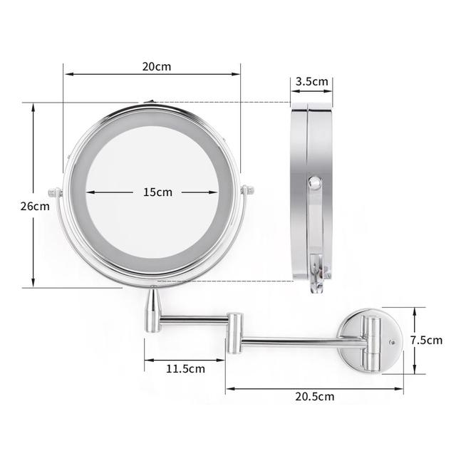 smartloc Extendable LED 8 inch 5X Magnifying Bathroom Wall Mounted Mirror Mural Light Vanity Makeup Bath Cosmetic Smart Mirrors 4
