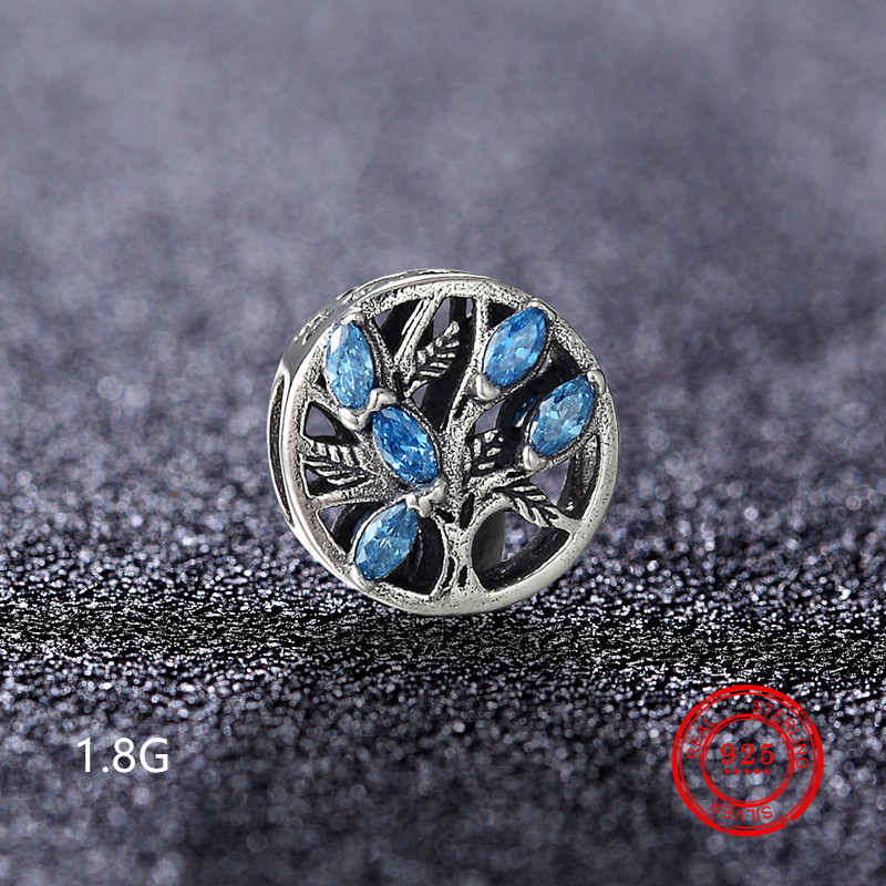 925 sterling silver blue ocean charm CZ beads suitable for Pandora original charm bracelet jewelry wholesale in Beads from Jewelry Accessories