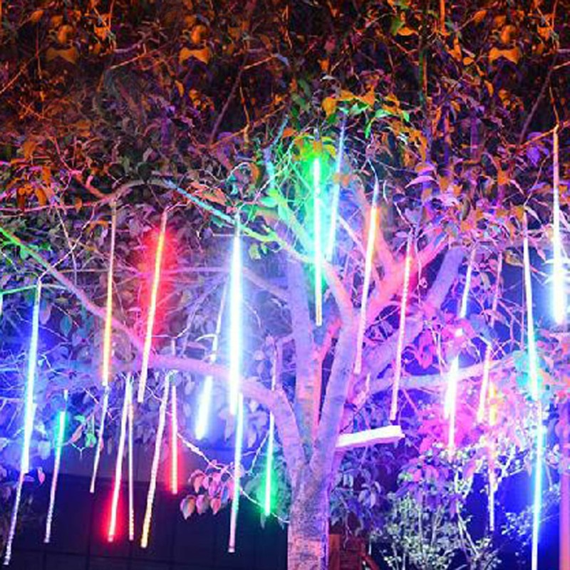 30cm 144LED Light Meteor Light 8 Tubes Shower Rain Garden Tree Decoration Snowfall Christmas String Light Wedding Lamp US Plug