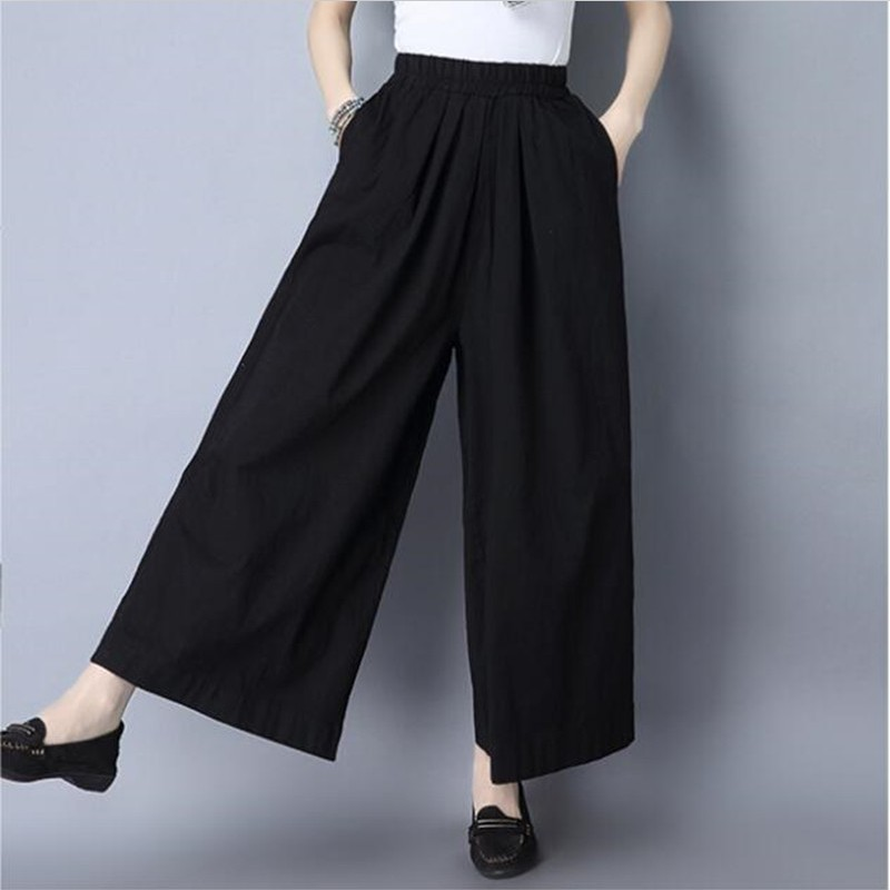 Summer cotton linen   pants   2019 fashion woman ankle-length   pants   casual loose   wide     leg     pants   large size M-7XL trousers red black