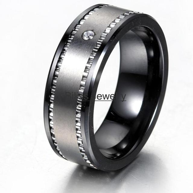 Hot 8mm Comfort Fit Mens Black Ceramic And Tungsten Carbide Combination With One Stone Cubic Zirconia