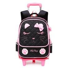Cute Cats Trolley School Bags For Girls Cartoon Children Bac