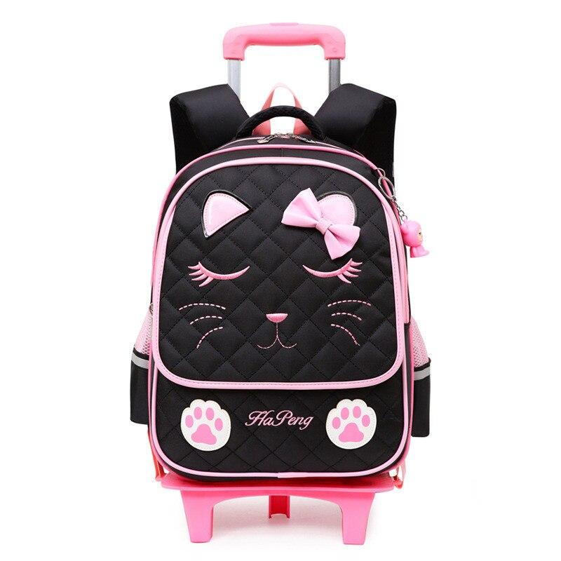 Sacs d'école de chariot de chats mignons pour des filles sac à dos d'enfants de bande dessinée avec des roues imperméables amovibles Mochila Infantil Bolsa