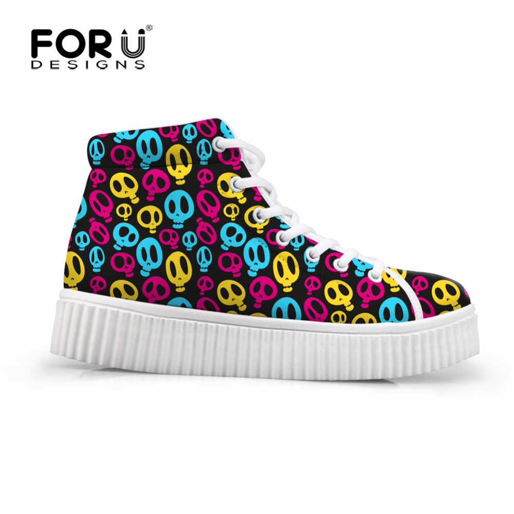 FORUDESIGNS High Top Height Increasing Women Casual Shoes Cute Mini Skull Pattern Women's Flats Platform Shoes for Female Autumn forudesigns fashion women height increasing flats shoes 3d pretty flower rose printed casual high top shoes for female platform