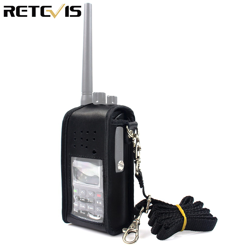 Black Multi-function Leather Carrying Radio Holster For Retevis RT8 RT81 DMR Radio Walkie Talkie J9115H