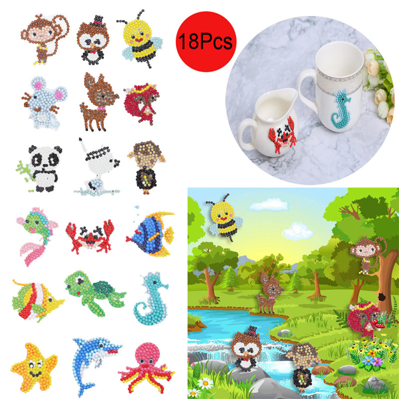 5D DIY 18 PCS Diamond Painting Kits for Kids and Adult Beginners Sea World Stick Paint with Diamonds by Numbers Easy to DIY,Cute Animals