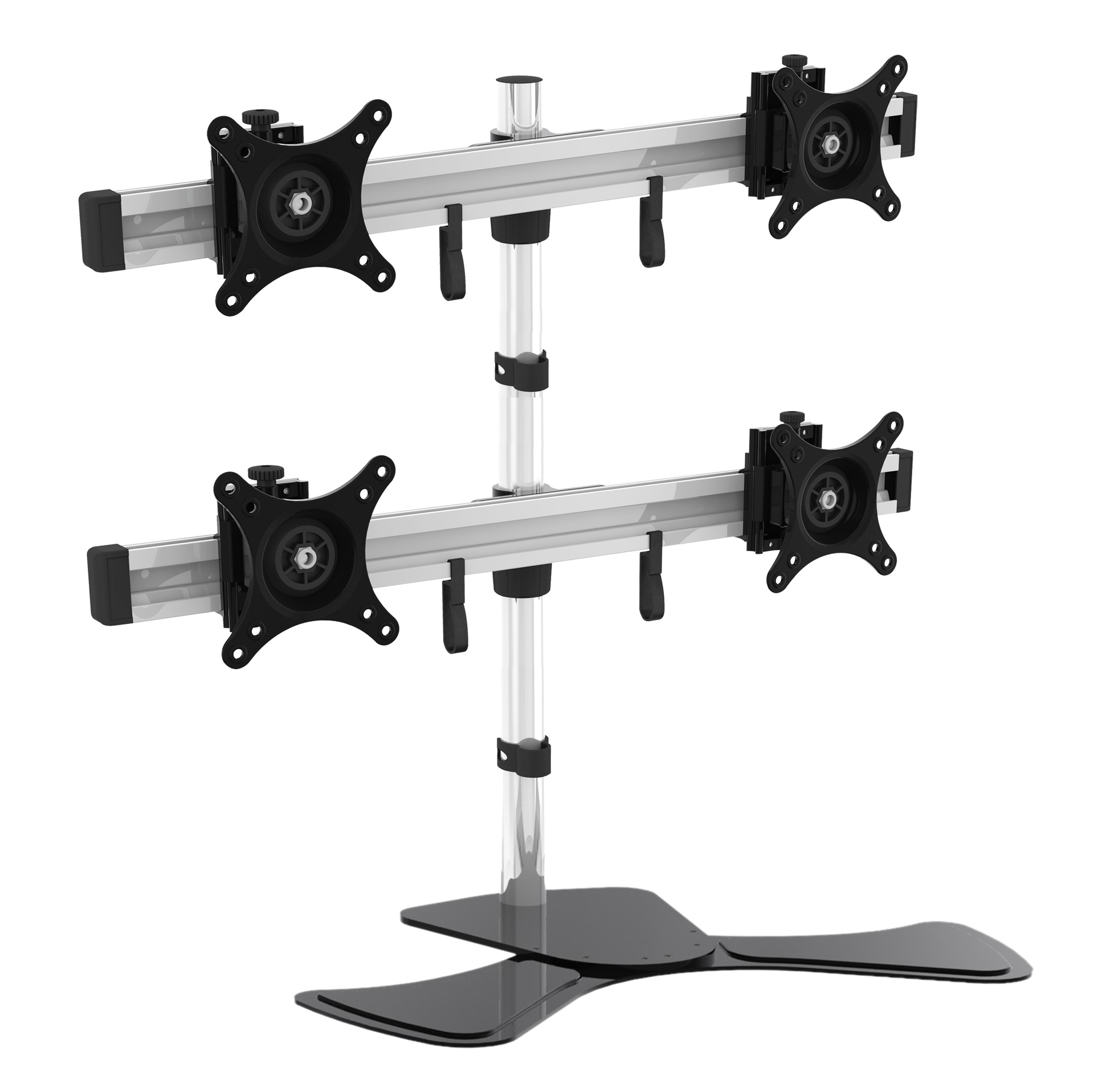 quad monitor stand desktop rotating lift lcd computer monitor screen than three support pylons holder rack bracket
