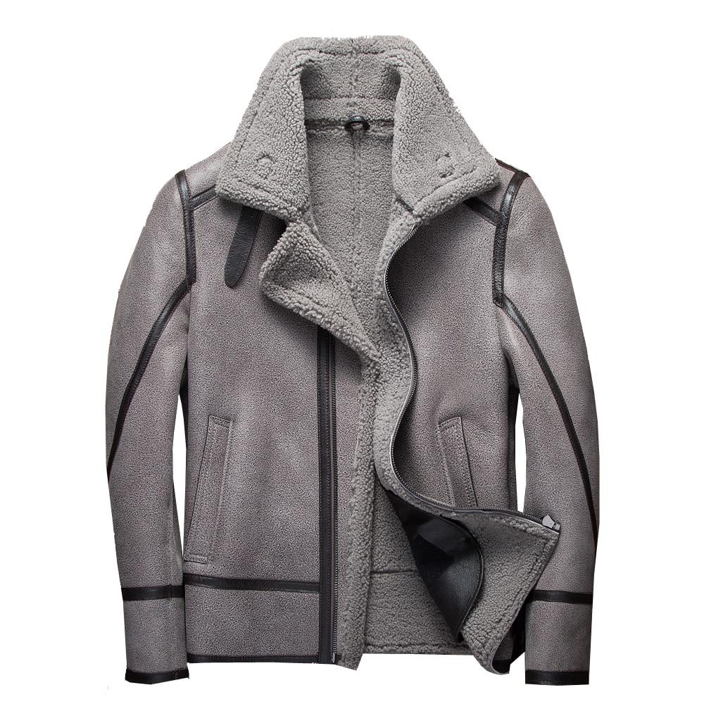 Chaqueta voladora de piel de oveja Real de 100% de moda chaqueta de piel de oveja genuina chaqueta de vuelo de invierno para hombre abrigo de piel gris para hombre