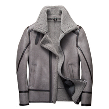 Fashion 100% Real Sheepskin Fur Flying Jacket Genuine Sheep Shearling Jacket Male Winter Flight Coat Gray Men Fur Overcoat