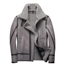 Fashion 100% Real Sheepskin Fur Flying Jacket Genuine Sheep Shearling Jacket Male Winter Flight Coat Gray Men Fur Overcoat