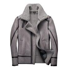 Moda 100% prawdziwe futro kożuch kurtka latająca oryginalna kurtka z owczą wełną mężczyzna zimowy płaszcz lotniczy szary mężczyzna futrzany płaszcz