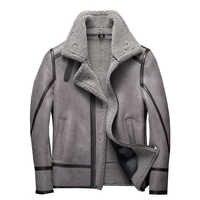 Mode 100% Real Schaffell Fliegen Jacke Echte Schafe Lammfell Jacke Männlichen Winter Flug Mantel Grau Männer Pelzmantel
