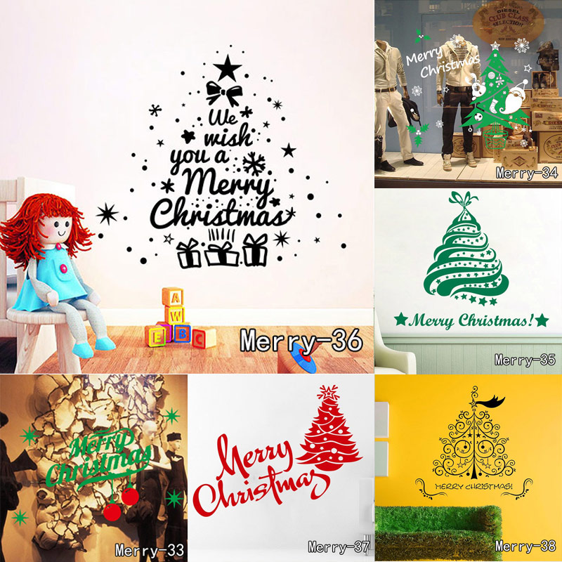 merry christmas is coming snowmen tree wall sticker home decor shop store party window stickers decoration - American Home Decor Stores