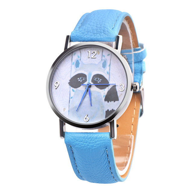 #5001Children Civet Cats Retro Design Leather Band Analog Alloy Quartz Wrist Wat