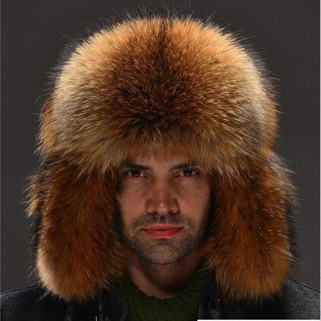 Lei Feng genuine raccoon fur hat winter fur full leather fox fur hat Fur  ear flap hat princess hat for men and women hot c9be4df73311