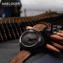 Agelocer Switzerland Luxury Brand Watches Men Wristwatch Chronograph Military Watch 100m Waterproof Mechanical relogio masculino