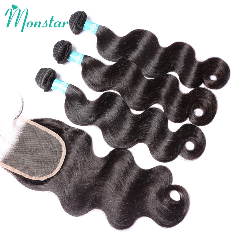 Monstar Hair Products Peruvian Body Wave Bundles with Closure Natural Color Peruvian Wavy Human Virgin Hair Bundles with Closure