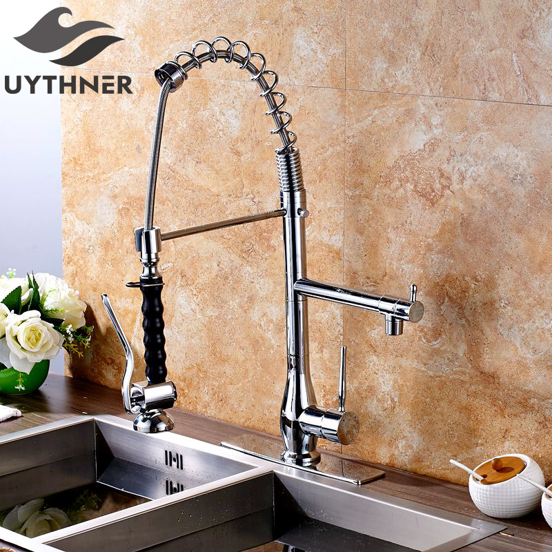 Uythner Heighten Luxury Chrome Finish Kitchen Faucet Mixer Tap Single Hole Deck Mounted With Plate Cover