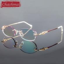 Chashma 브랜드 여성용 프레임 학위 안경 투명 안경 여성용 다이아몬드 색조 렌즈