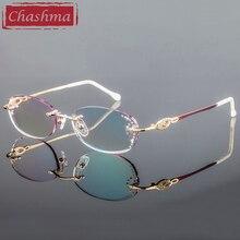 Chashma ยี่ห้อผู้หญิงกรอบองศาแว่นตาแว่นตาผู้หญิงเพชรเลนส์สำหรับสุภาพสตรี