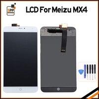 100% getest lcd-scherm vervanging voor meizu mx4 mx 4 touch digitizer lcd-scherm vergadering reparatie pantalla zwart wit + gereedschap