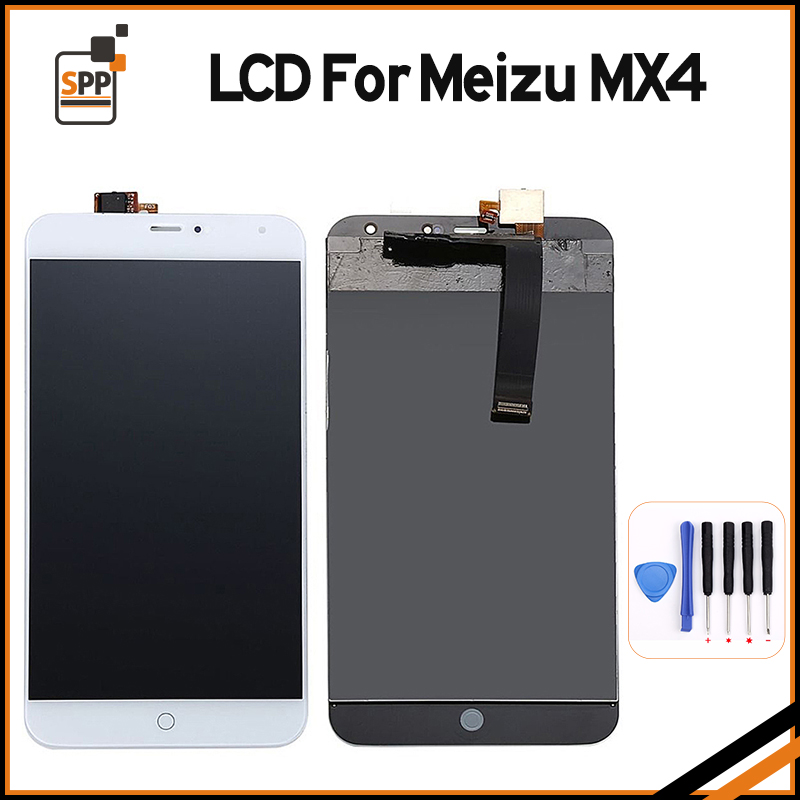 imágenes para 100% probado lcd de reemplazo de pantalla para meizu mx4 mx 4 pantalla táctil digitalizador lcd asamblea pantalla negro blanco + herramientas de reparación
