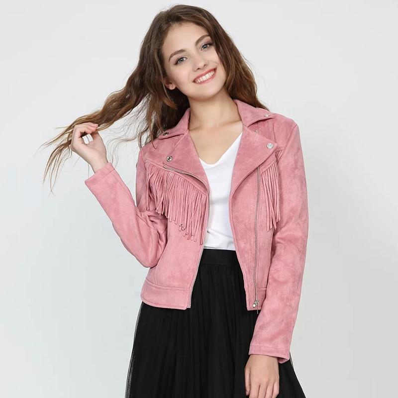 Pink Tassel Women Cool   Suede   Jacket 2019 Spring Womens Chic Short Coats Moto-biker Punk Jackets European Ladies Camel Outerwear