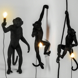 Image 5 - Resin Gold Monkey Pendant Lamp Hanging Wall Living Room Light Pendante lustre E27 Bulb Kroonluchter Luces Decoration Plafondlamp