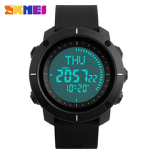SKMEI Men Wristwatches Big Dial Digital Compass Stop Watch Waterproof PU Strap LED Display Watches Relogio Masculino 1216   все цены