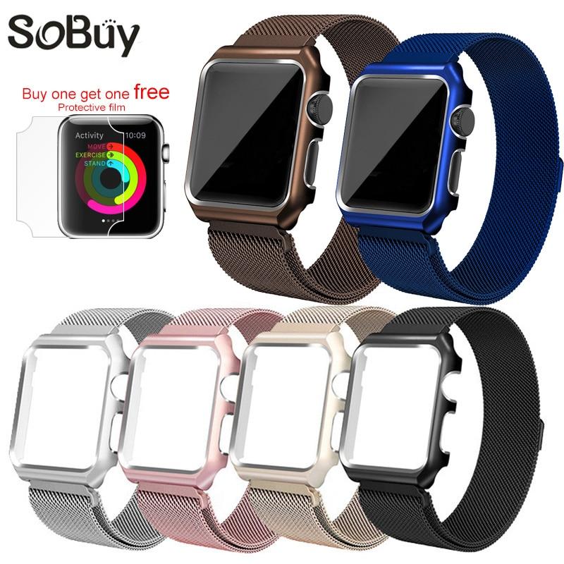 Uhrenzubehör Für Apple Uhr Iwatch 1/2/3 Edelstahl Milanese Strap Schleife Handgelenk Band 38mm Armband 42mm Metall Schutzhülle Box