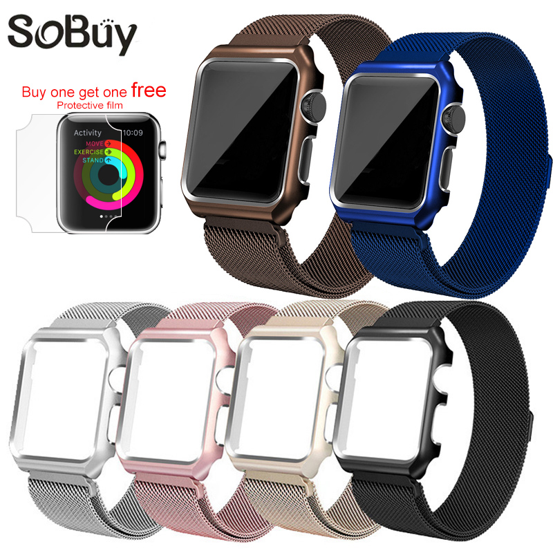 So buy for Apple Watch iwatch 1/2/3 Stainless Steel Milanese Strap Loop Wrist band 38mm Bracelet 42mm Metal protective case box so buy wrist bracelet 316l stainless steel bands for apple watch 42mm 38mm iwatch strap series 1 2 3 sport milan nice metal band