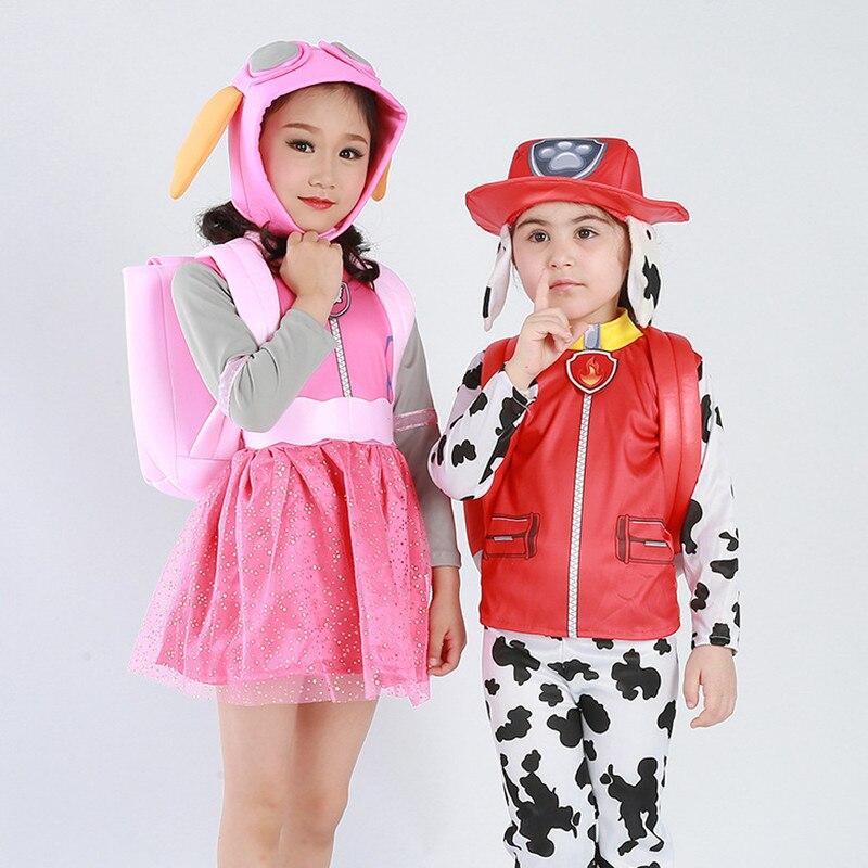 Kids Boys Patrol Dog Costume For Girls Christmas New Year Purim Cartoon Skye Zuma Rubble Chase Marshall Rocky Costumes